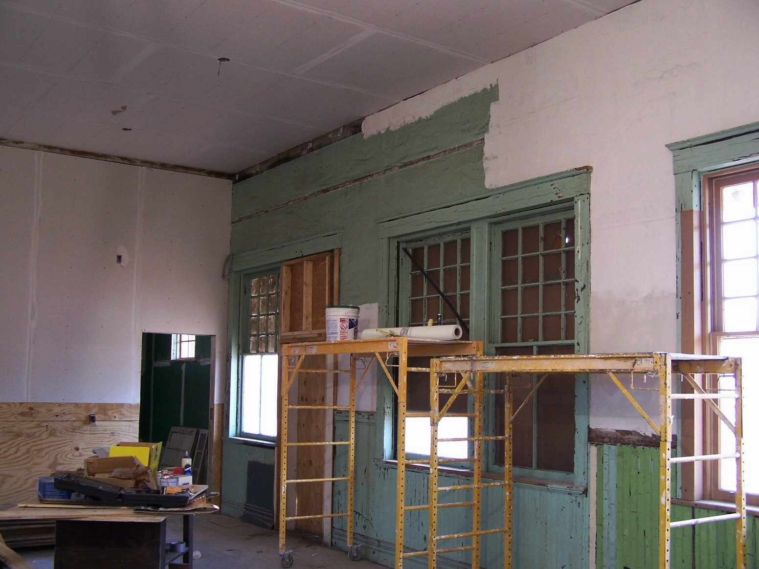 Cleveland depot restoration progress part 8 rock on trains for How to repair interior stucco walls