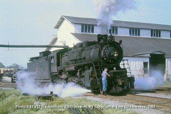 Kentucky & Tennessee #12(Ex-Southern Rwy #4501) @ Stearns KY - 1962 (Credit: Tom Gildersleeve)